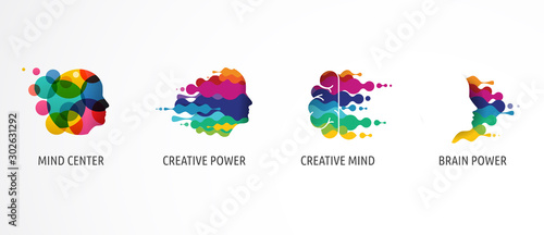 Fotografie, Obraz Brain, Creative mind, learning and design icons, logos