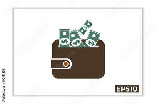 Fotografie, Obraz  dollar cash icon in wallet, payment instrument. dollar sign