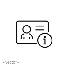 Personal Information Icon, Access Data Person Info, Employee Identification, User Account, Thin Line Web Symbol On White Background - Editable Stroke Vector Illustration Eps 10