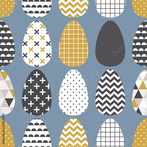 Scandinavian easter eggs seamless pattern with geometric tribal ornament in blac Wallpaper Mural