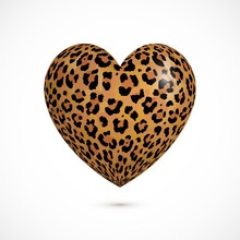 Vector 3d Realistic Heart With Leopard Print Isolated On White Background. Trendy Animal Fur Fashion Design Element. Exotic Wild African Cat Realistic Skin Into A Heart. Love Animal, Leopard Concept.