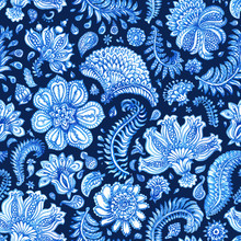 Floral Seamless Pattern. Paisley Elements, Foliage, Fantastic Flower. Hand Painted Blue Watercolor Ornament On Dark Indigo Background. Wallpaper, Wrapping Paper, Bohemian Textile Print, Batik