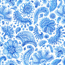 Floral Seamless Pattern. Paisley Elements, Foliage, Fantastic Flower. Hand Painted Blue Watercolor Ornament On A White Background. Wallpaper, Wrapping Paper, Bohemian Textile Print, Batik