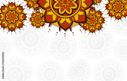 Leinwand Poster Background pattern of mandalas on white