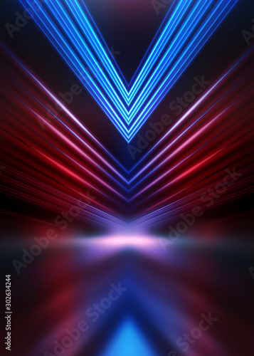 Empty show scene background. Reflection of a dark street on wet asphalt. Rays of red and blue neon light in the dark, neon shapes, smoke. Abstract dark background. - 302634244