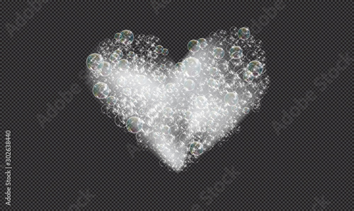 Valokuvatapetti Bath foam soap with bubbles isolated vector illustration on transparent background
