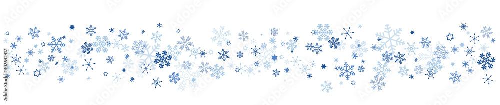 Fototapeta 雪の結晶 スノーフレークのボーダー