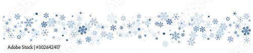 Fototapeta 雪の結晶 スノーフレークのボーダー obraz
