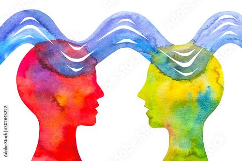 Stampa su Tela Disegno grafico empatia telepatia sfondo bianco