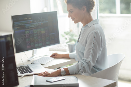 Fotomural  Businesswoman Working on a Laptop