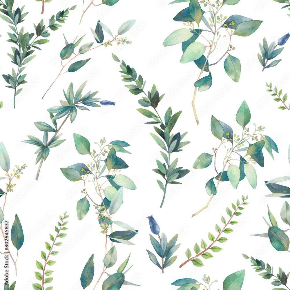 Fototapety, obrazy: Floral seamless pattern. Watercolor plants texture. Branches and green leaves on white background.