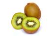 Ripe fresh kiwi fruits and half sliced
