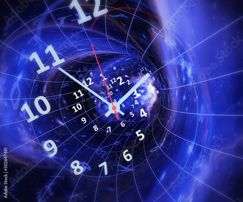 Time in space. Time machine. 3d rendrering illustration