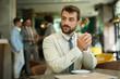 Businessman working on a coffee break