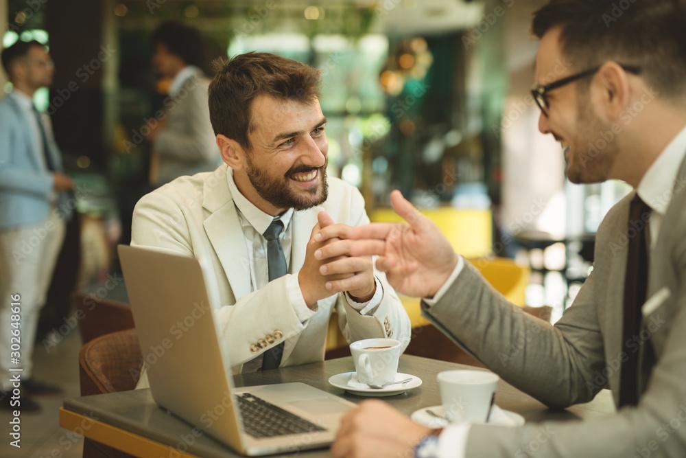 Fototapeta Business people having a discussing in break