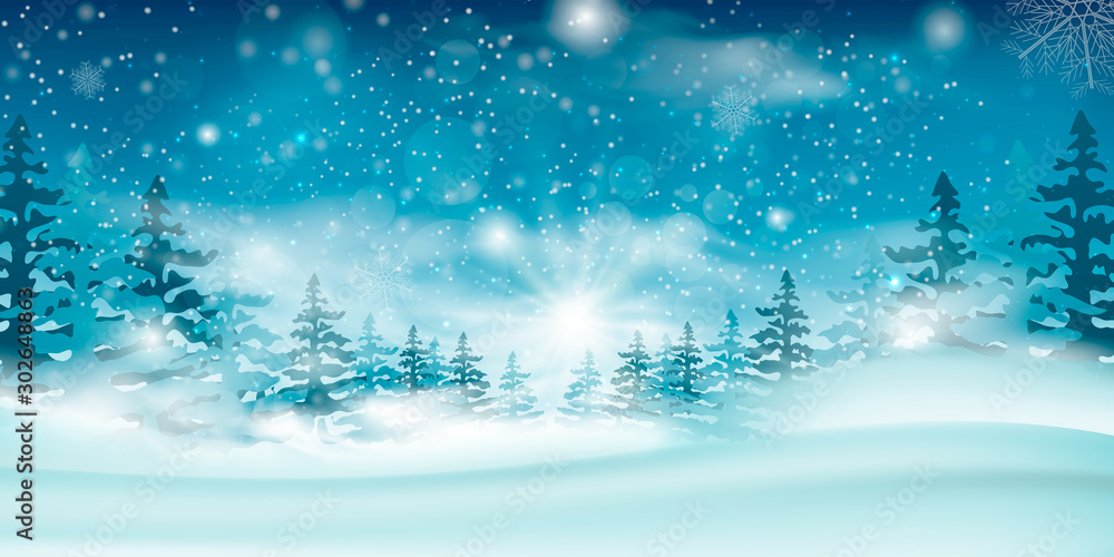 Fototapeta Winter blue sky with falling snow, snowflakes with a winter landscape with a full moon.