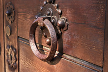 Antique Door Handle On A Woode...