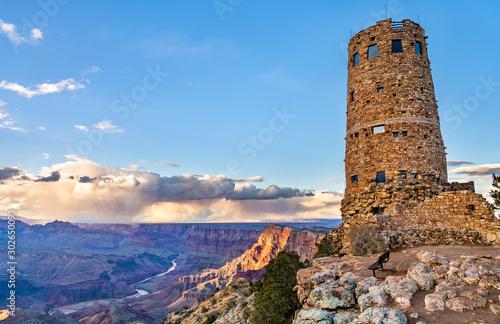 Fototapeta Desert View Watchtower above the Grand Canyon in Arizona