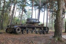 Obsolete Nato M41 Walker Bulldog Tank Left Behind In A Forest In Germany