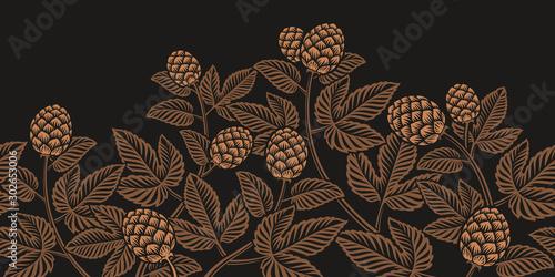 Fotografía  Vintage seamless hop pattern, a decoration for beer theme