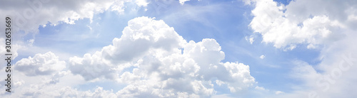 Panorama of clear blue sky with white cloud background. Clearing day and Good weather in the morning. - 302653669