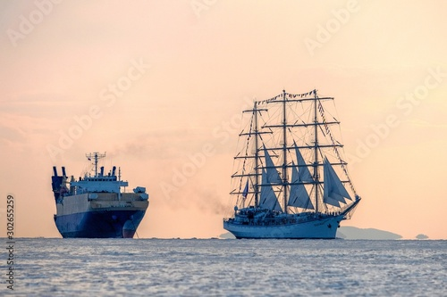 Canvas Prints Ship ship in the sea at sunset