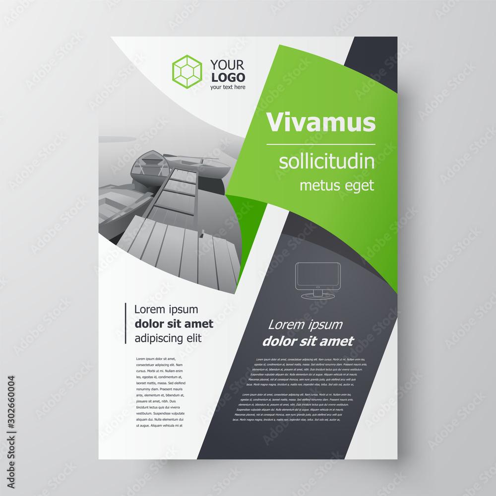 Fototapeta Flyer brochure design, business flyer size A4 template, creative leaflet green color