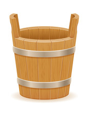 Wooden Bucket With Wood Texture Old Retro Vintage Vector Illustration