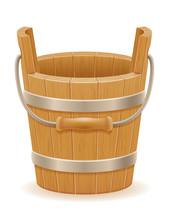 Wooden Bucket With Wood Textur...
