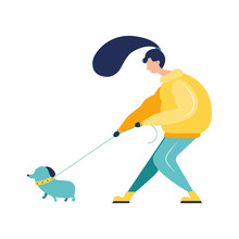 Young Girl In In A Jacket With Long Hair With Dog Near Her Leg.  Walking Outdoors. Cartoon Flat Vector Illustration