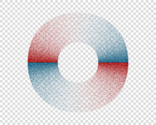 Circle, Ring, Monochrome With Noise. Red, Blue. Abstract Geometric Figure With Grain, Grunge. Vector Design Element On Isolated Background.