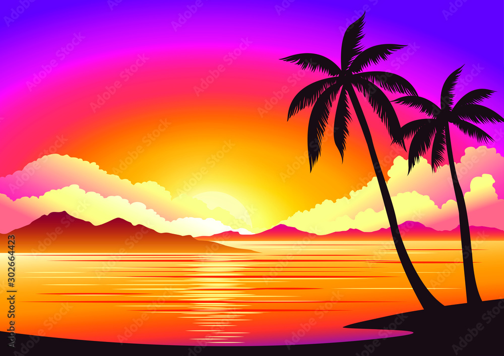 Fototapety, obrazy: Vector image, background beautiful sunset on the beach