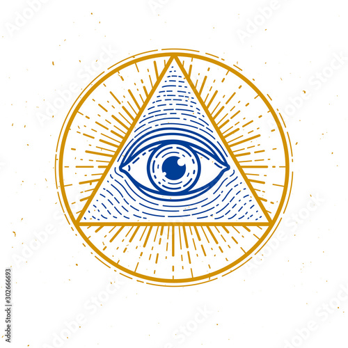Fényképezés All seeing eye of god in sacred geometry triangle, masonry and illuminati symbol, vector logo or emblem design element