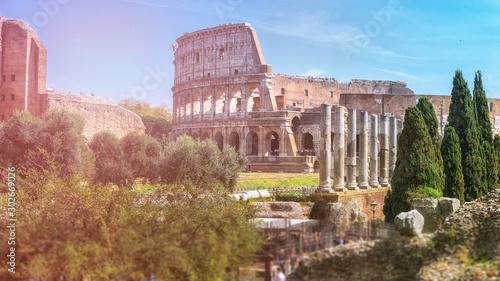 Obraz na plátne  Coliseum or Flavian Amphitheatre (Amphitheatrum Flavium or Colosseo), Rome, Italy