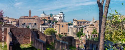 Staande foto Oude gebouw Roman Forum. Image of Roman Forum in Rome, Italy