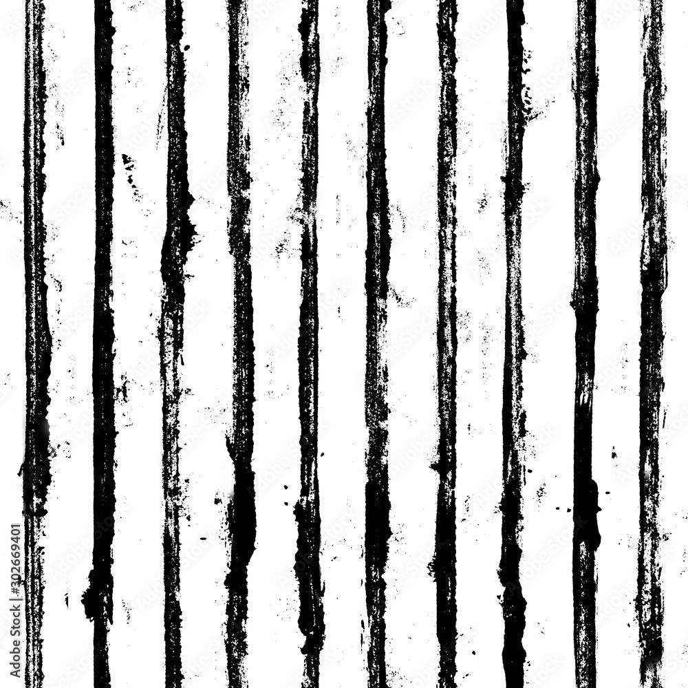 Fototapeta Black and white stripe grunge seamless pattern. White stripes on black background