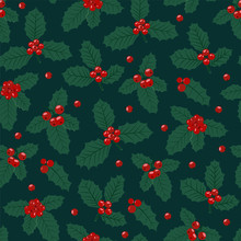 Christmas Seamless Pattern With Holly Berries Background, Winter Pattern With Holly, Wrapping Paper, Pattern Fills, Winter Greetings, Web Page Background, Christmas And New Year Greeting Cards
