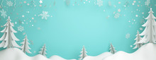 Winter Abstract Background Design Creative Concept, Snow Icon, Pine, Spruce, Fir Tree Art Paper Cut Origami With Blue Pastel Sky. Copy Space Text Area. 3D Rendering Illustration.