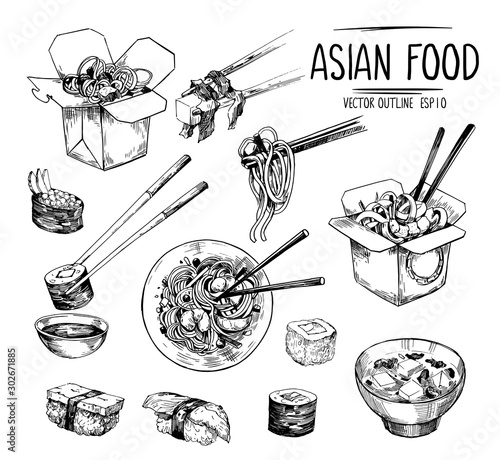 Fototapeta Asian food sketches. Sushi, miso soup, wok noodles. Vector set isolated on white background obraz
