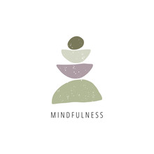 Zen Stones Flat Vector Illustration. Balance, Mindfulness And Harmony Concept