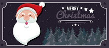 Happy Merry Christmas Card With Santa Claus