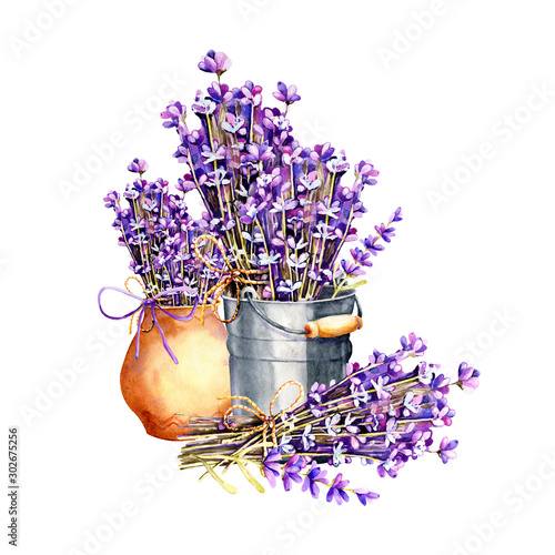 Fototapeta A bouquet of lavender flowers, twigs tied with twine, a bundle in an aluminum bucket and clay ceramic pot. Hand drawn watercolor illustration for design of wedding concept, birthday, Valentine's day. obraz