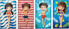 Boys And Girls On Beach Towels