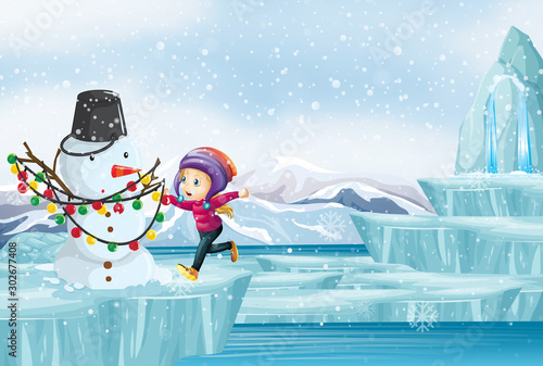 Spoed Foto op Canvas Kids Scene with kid and snowman on ice