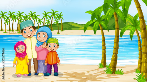 Poster Jeunes enfants Beach scene with family members