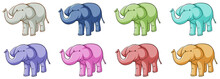 Isolated Set Of Elephants In Different Colors