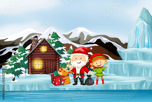 Poster Jeunes enfants Scene with Santa and elf by the cottage