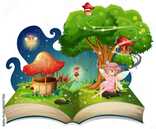 Poster Jeunes enfants Book with fairies flying around the tree