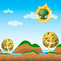 Vector seamless game background. Layered game interface design. Level wallpaper. Alien world, another planet in cosmos.Summer green mountains, blue sea, apple trees, fantasy landscape.