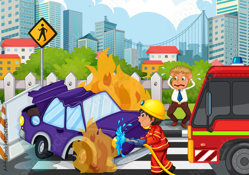 Poster Jeunes enfants Accident scene with fireman and car on fire